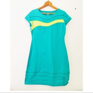 title nine Blue & Neon Yellow Wave Athletic Dress